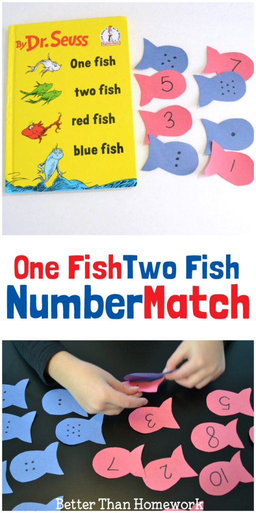This One Fish Two Fish number match activity is a fun way to practice numbers and counting. It's a fun math game for preschool and kindergarten. #numbers #ece #kindergarten #BetterThanHomework