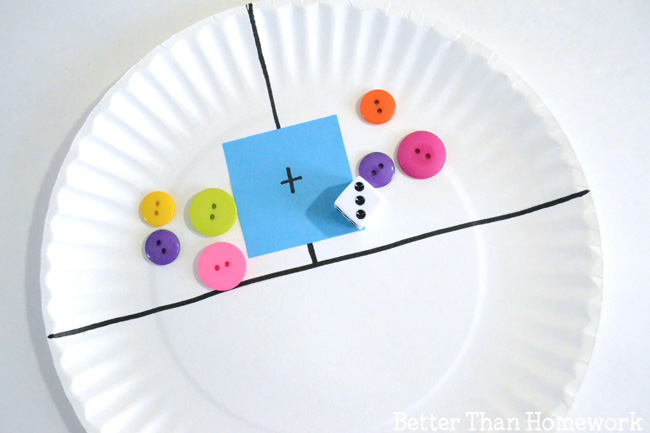 Make a simple paper plate game to help your child practice math skills