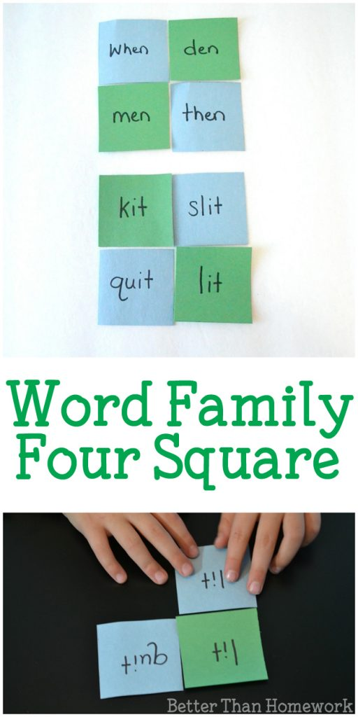 Practice reading and rhyming with this simple word family game for kids. It's easy to make and can be used for any set of word families. #wordfamily #learntoread #literacy #BetterThanHomework