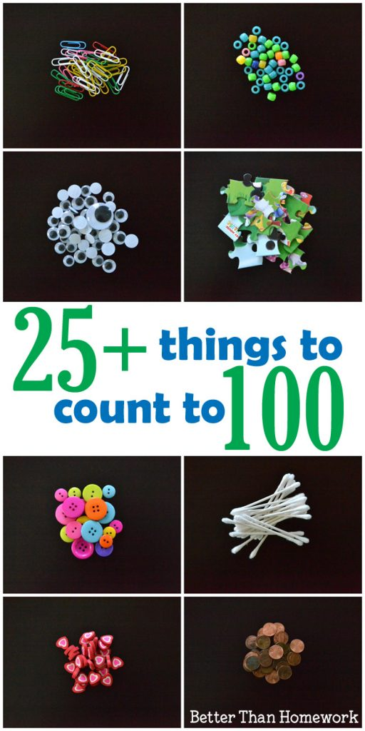 Here are over 25 everyday things to count to 100. They're all small, easy-to-find, and perfect to bring for the one hundredth day of school.