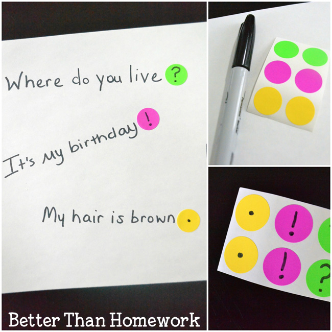 This punctuation activity is a fun way to practice adding the correct punctuation to the end of a sentence. Kids will love this easy grammar game.