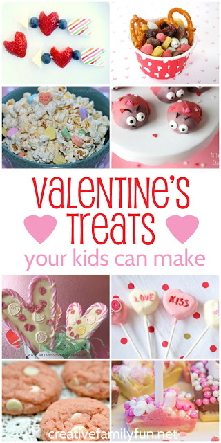 Get in the kitchen and make some Valentines treats for kids. These Valentines Day treats are perfect for kids to make themselves.