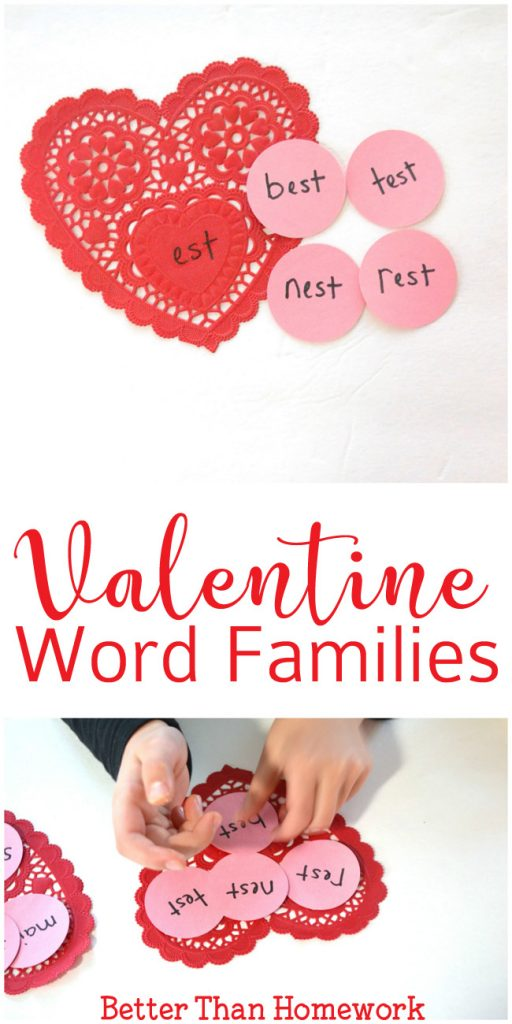 Get out paper doilies to help practice word families with a fun Valentine Word Family Game. It's a fun Valentine reading game. #Literacy #ReadingGame #ValentinesDay #BetterThanHomework