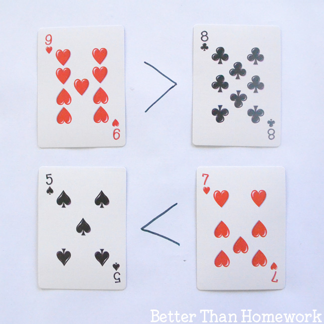 Grab a set off playing cards to practice math with these fun and simple activities to help your child understand greater than and less than.