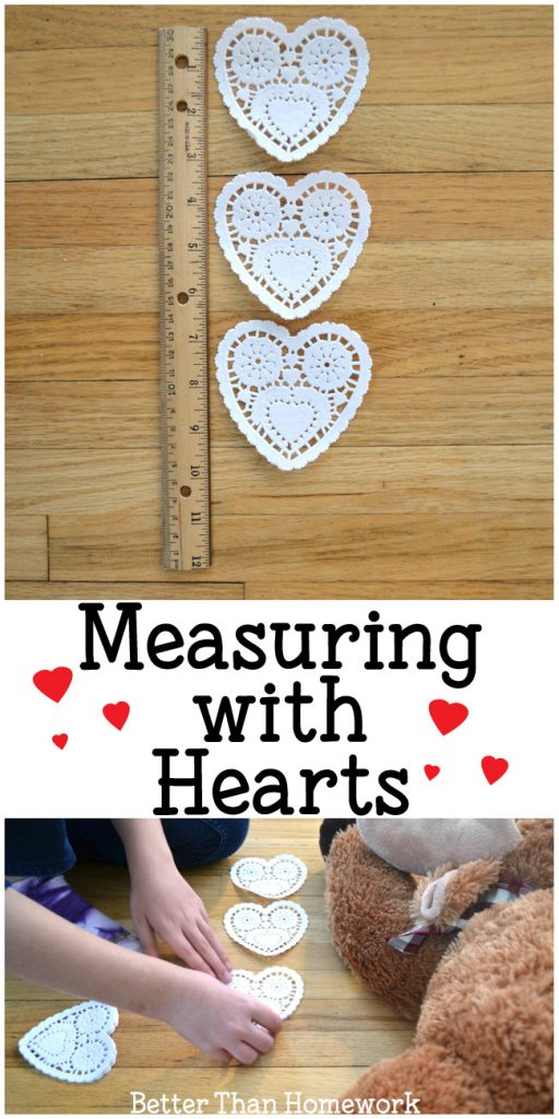 Use heart doilies for a fun hands-on way to practice measuring with nonstandard units with this fun Valentine's Day math activity. #math #measurement #ValentinesDay #BetterThanHomework