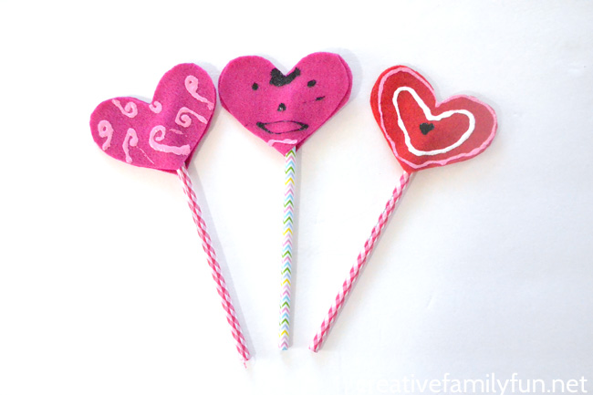 No-Sew Valentine Pencil Toppers
