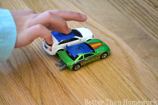 Use toy cars to practice making ten with this fun math activity for kids.
