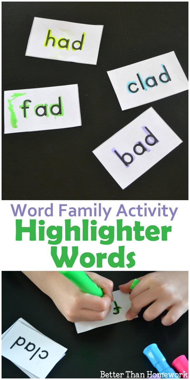 ad word family activity highlighter words creative family fun