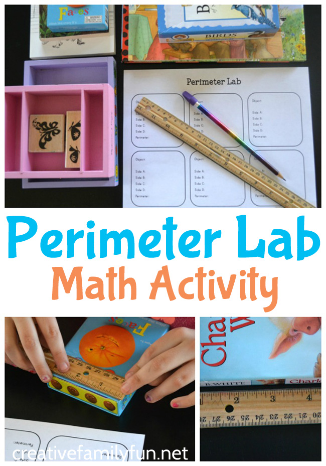 Explore measurement with this simple hands-on perimeter activity for kids, a Perimeter Lab math invitation. They'll measure, calculate, and have fun.