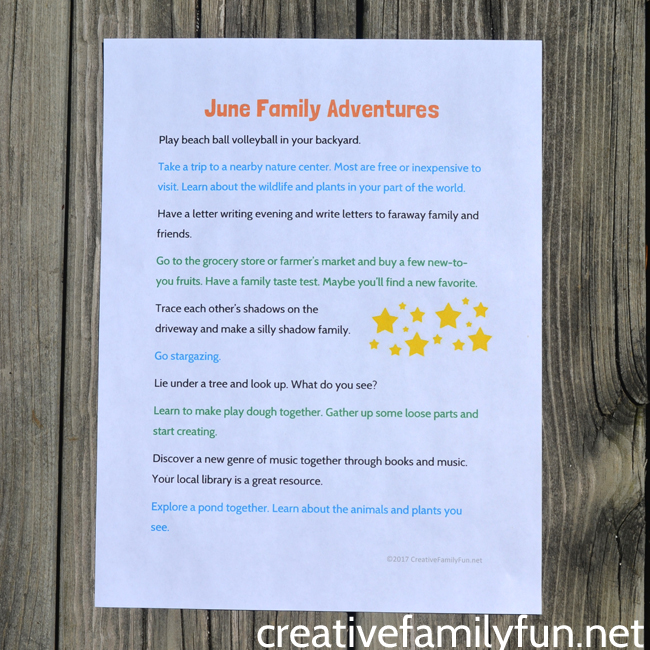 Get ready for summer with some family adventures! Save and print these ideas for June simple family fun and you'll be ready for family time any time.