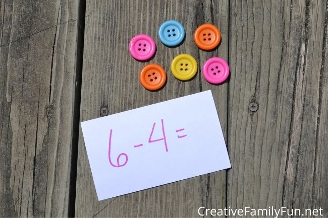 subtraction with math manipulatives