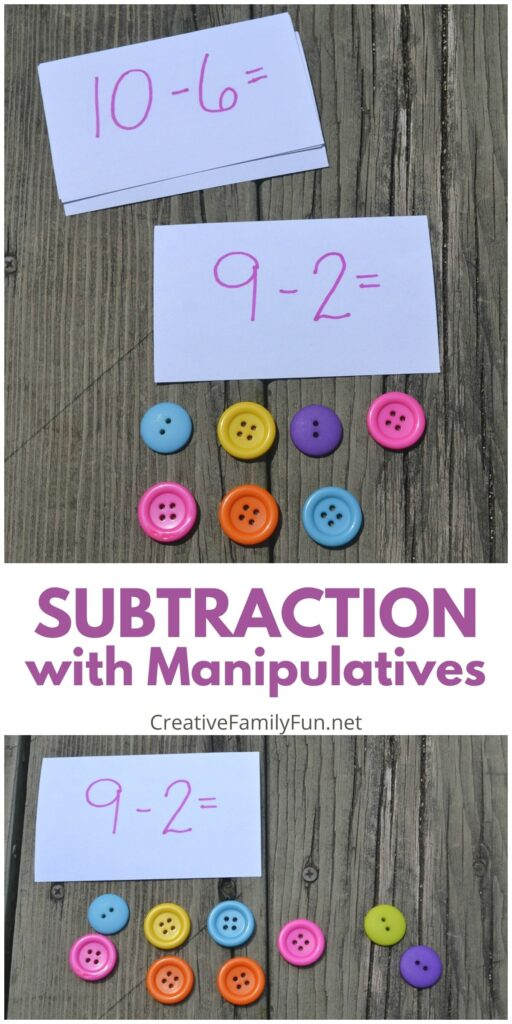 Subtraction with Manipulatives math activity