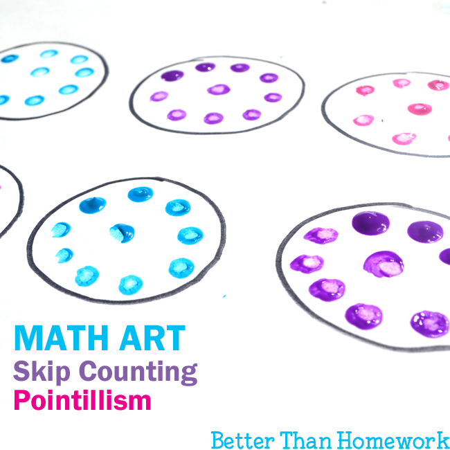 Add some creativity to your math practice with this fun math art project for kids. Learn about pointillism and do practice skip counting at the same time.