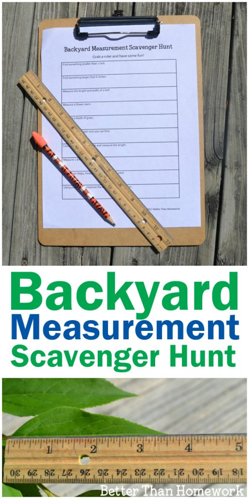 Take your learning outside with this fun backyard measurement scavenger hunt. Grab your printable scavenger hunt and get ready to learn math outside.
