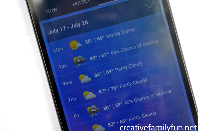 Get out your phone for this simple weather report activity. You can learn so much with a daily weather report. Here are a few ideas to try.