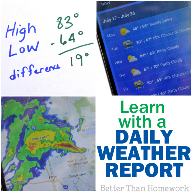 Get out your phone and share the weather app with your kids. There are so many ways to learn with a daily weather report. Here are a few ideas.