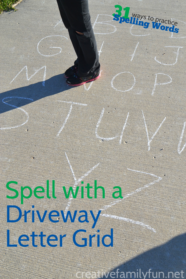 Practice spelling outside with a driveway letter grid. Hop, skip, run, and jump your way through all your spelling words.