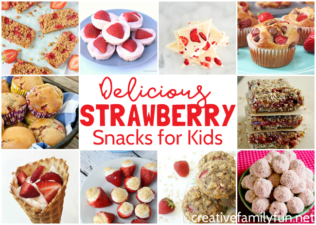 Delicious strawberry snacks for kids that are fun to make and yummy to eat. They're a great way to enjoy this favorite summer fruit.