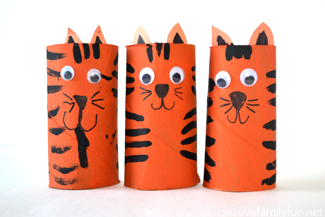 Cardboard Tube Tiger Craft