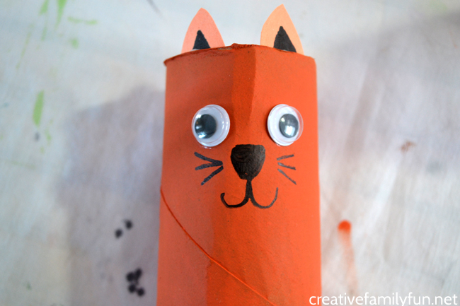 Grab some cardboard and paints to make this fun Cardboard Tube Tiger craft for kids. It's so much fun to make and play with!