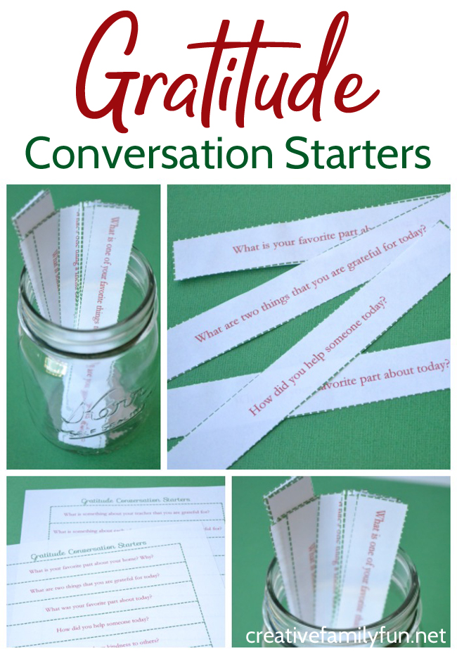 Get your kids started talking about gratitude with these printable Gratitude Conversation Starters that are perfect for family dinner time.