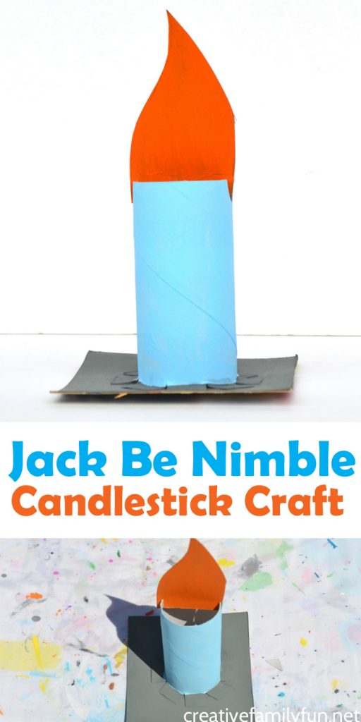 Make nursery rhymes fun when you use recycled materials and other simple craft supplies to make this Jack Be Nimble candlestick craft for kids.