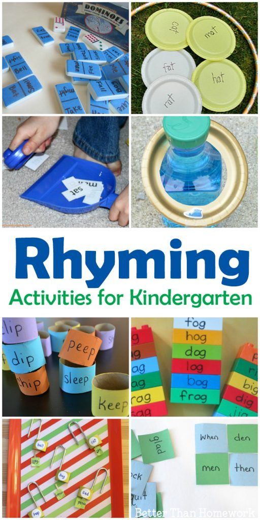 Rhyming can be so much fun when you try one of these Rhyming Activities for Kindergarten. You'll find over 10 hands-on literacy activities for kids. #literacy #reading #kindergarten #BetterThanHomework