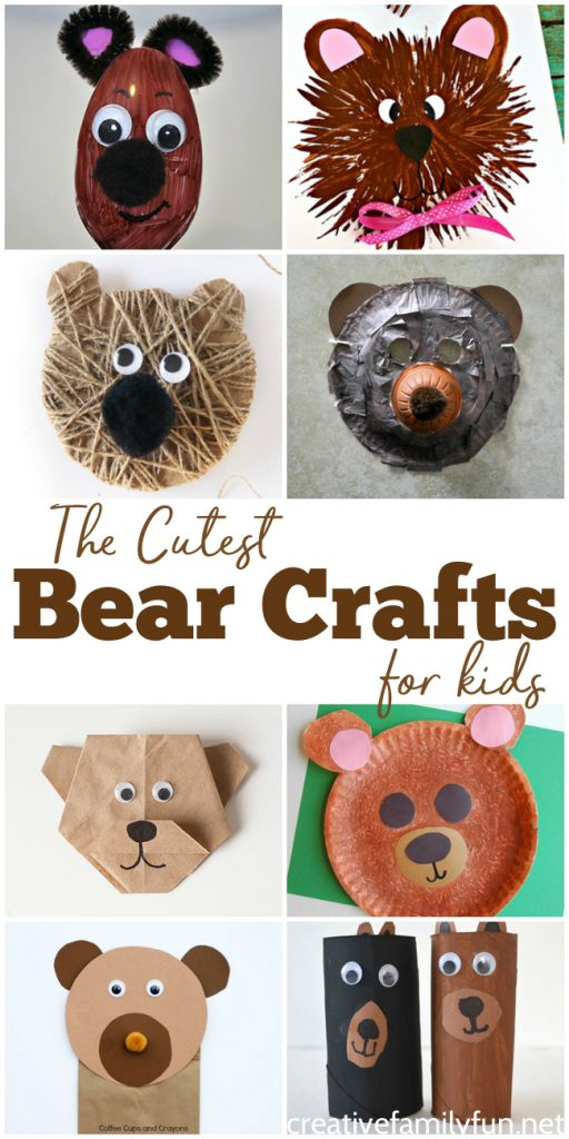 These bear crafts for kids are the cutest of the cute! Grab your craft supplies, gather your kids, and get ready to have some fun together. These ideas are fun for all ages of kids. #kidscrafts #bearcraft #CreativeFamilyFun