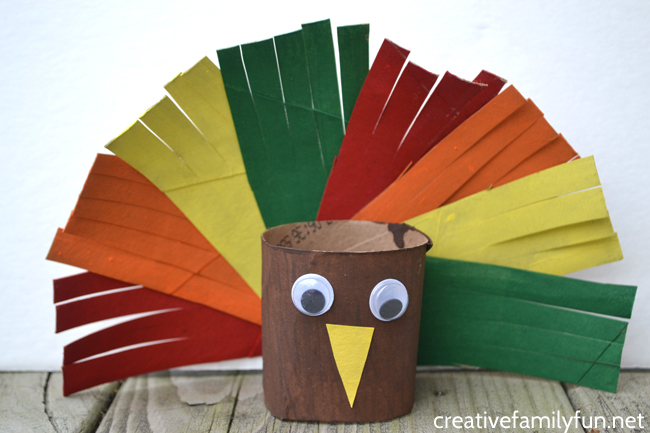 Grab some recycled materials to make this cute and colorful Cardboard Tube Turkey Craft for kids. It's a fun Thanksgiving craft.