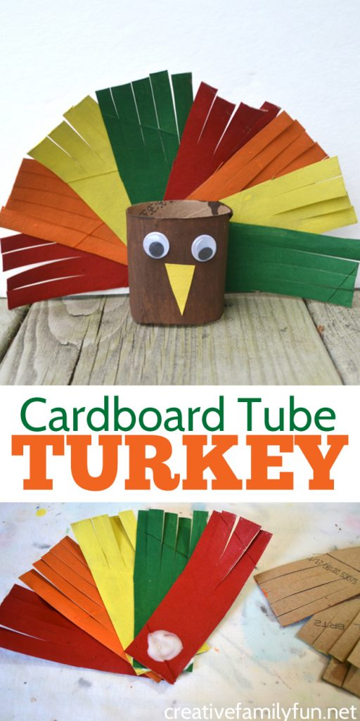 Grab some recycled materials to make this cute and colorful Cardboard Tube Turkey Craft for kids. It's a fun Thanksgiving craft. #Thanksgiving #kidscraft #CreativeFamilyFun