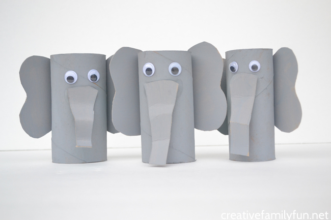 Grab some paint and googly eyes to transform a cardboard tube into a cute and fun elephant craft. Recycled crafts don't get any better than this!
