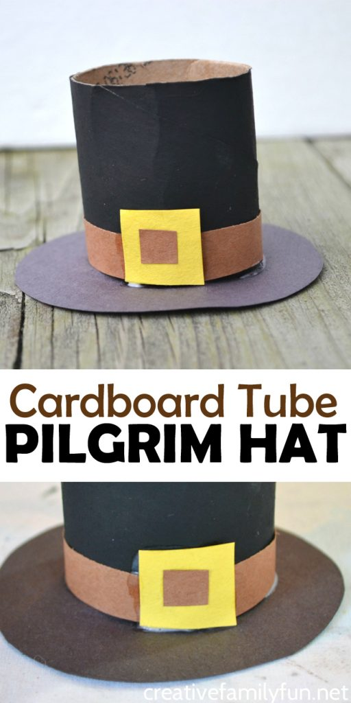 Use recycled craft materials to make this cute Cardboard Tube Pilgrim Hat Craft. It's an easy to make and fun Thanksgiving craft for kids. #Thanksgiving #kidscraft #CreativeFamilyFun