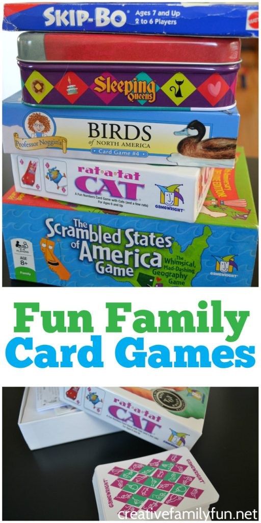 Pick up one of these easy to play card games for your next family game night. Here are over 20 family card games that easy to learn and fun for all ages. #games #familygamenight #CreativeFamilyFun