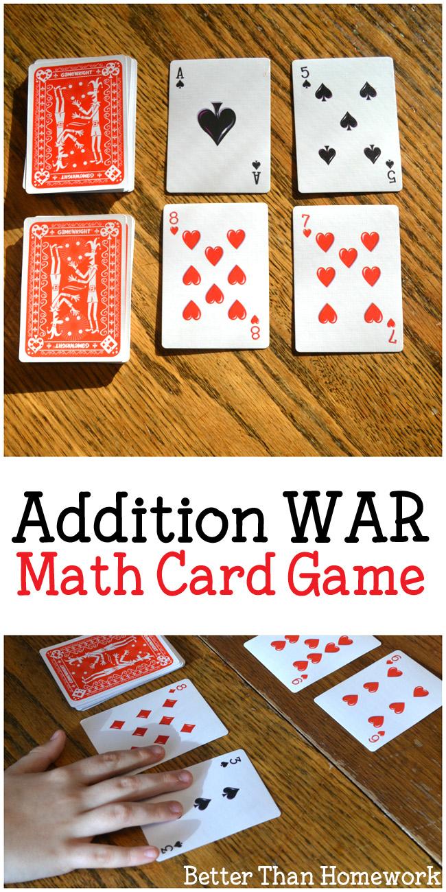 addition card game addition war  creative family fun