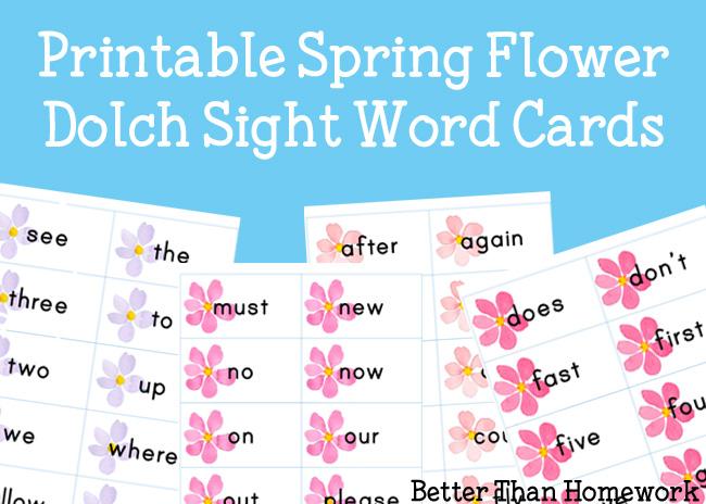 Printable Spring Flower Sight Words