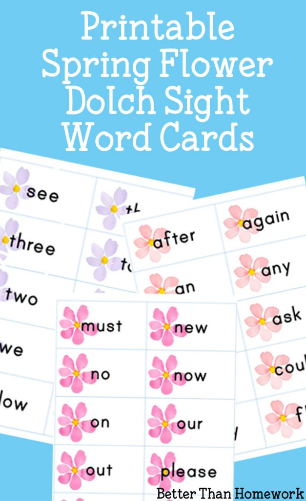 Practice Dolch sight words with these fun watercolor Spring Flower Sight Words printable cards for pre-k through 3rd grade. Print, play, learn and have fun!