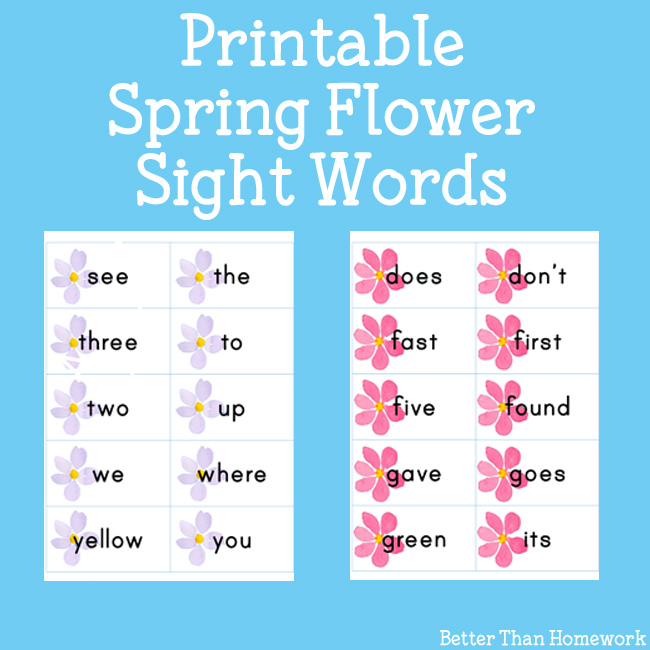 Pretty Printable Spring Flower Sight Words Printable Cards