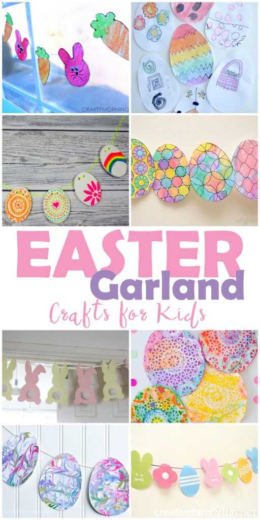 Decorate your house for Easter with one of these fun Easter Garland Crafts for Kids. They're easy to make, colorful, beautiful and so much fun!