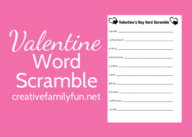 Can you unscramble all the words on this Valentine's Day word scramble printable for kids? Grab this free printable and have some fun.