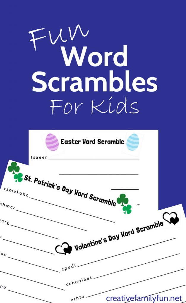 Word scrambles are so much fun! Here's a fun selection of holiday and everyday printable word scrambles for kids. Just download, print, and fun solving these word games.