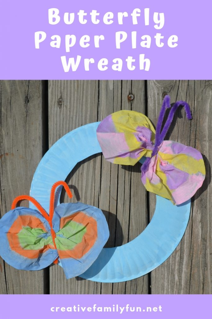 Create a pretty butterfly paper plate wreath with simple supplies. This is perfect for a preschool springtime unit or letter B unit.