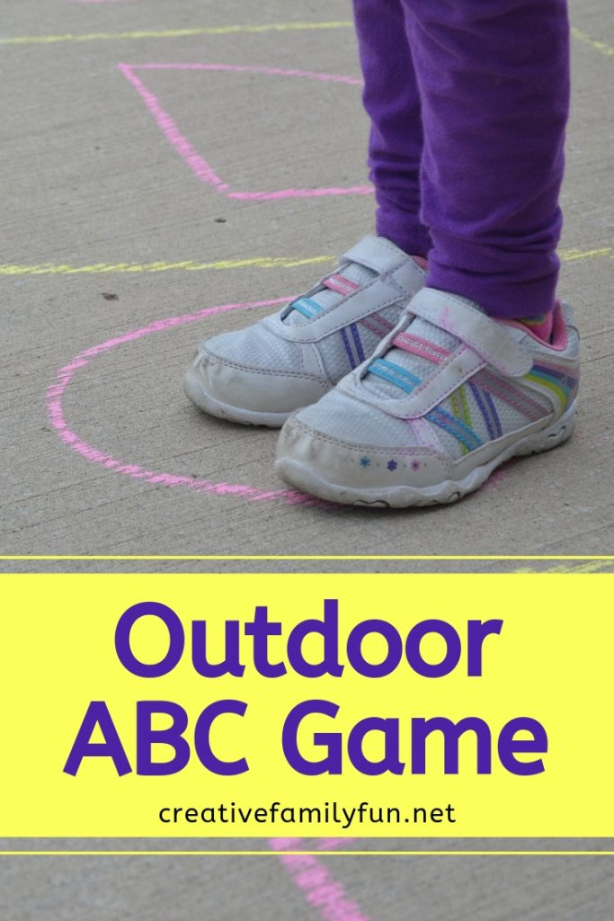 Grab your sidewalk chalk, go outside, and have some fun learning the alphabet with this fun outdoor abc game you can play on your driveway.