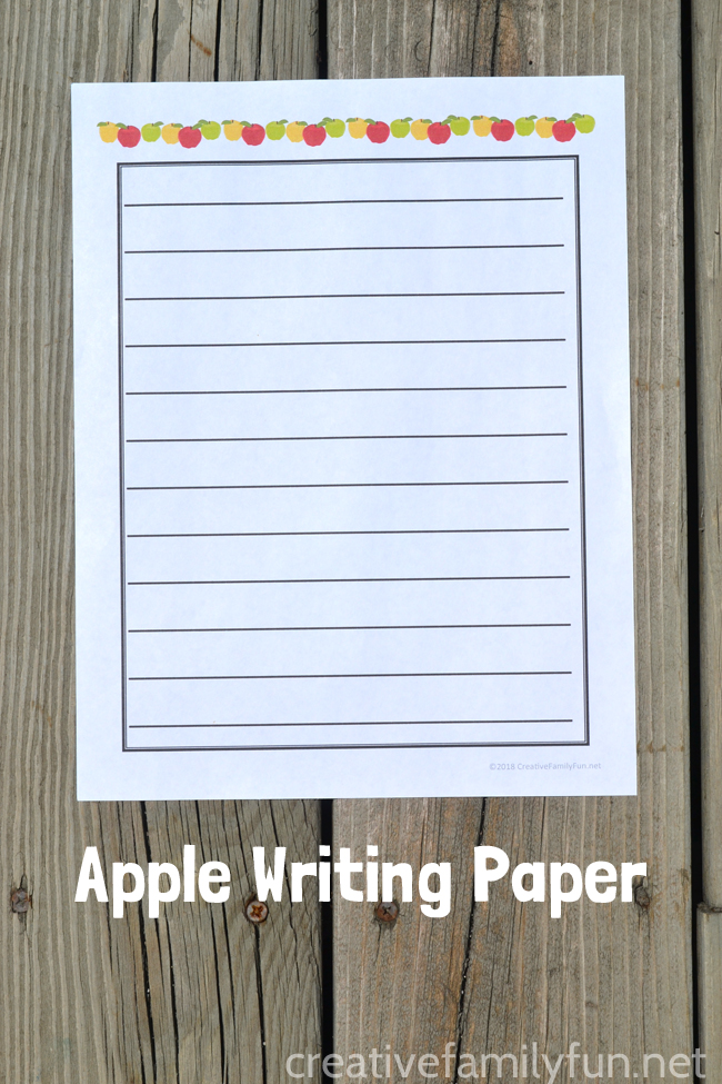 Practice writing with this fun fall-themed free printable Apple Writing Paper. Includes both full color and black and white options.