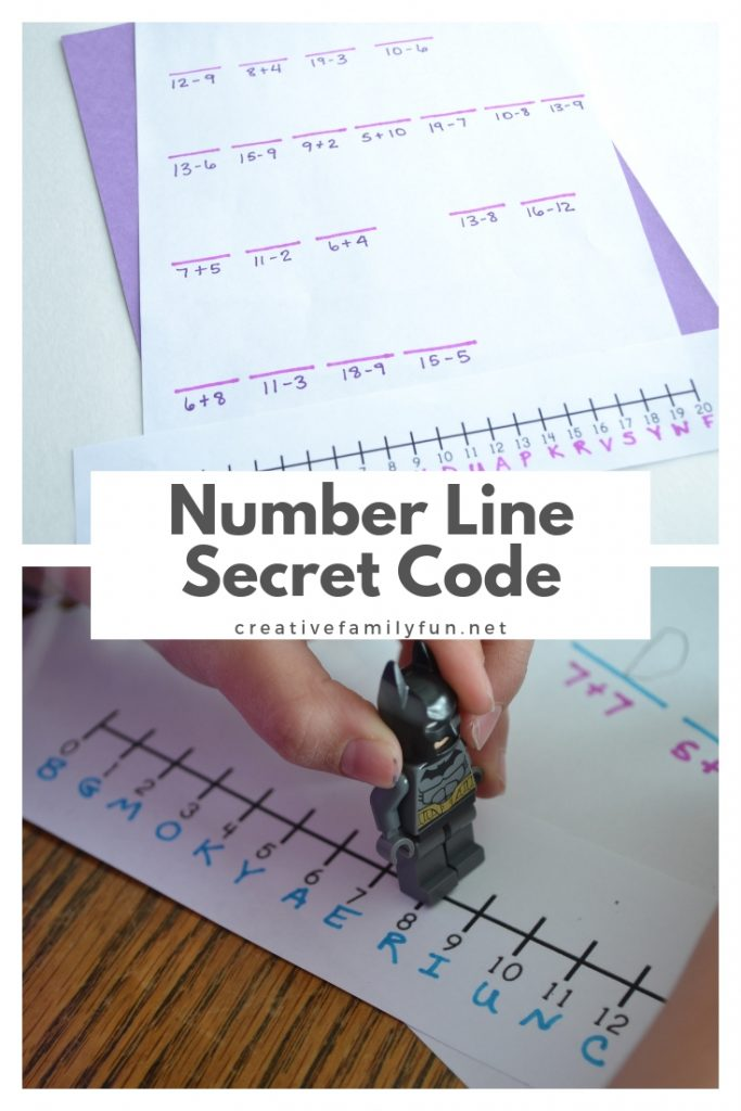 Use your addition and subtraction skills to find the secret message with this fun Number Line Secret Code math activity for kids.