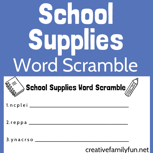 If you love school supplies and word games, you'll love this awesome School Supplies Word Scramble printable for kids. It's a great boredom buster!