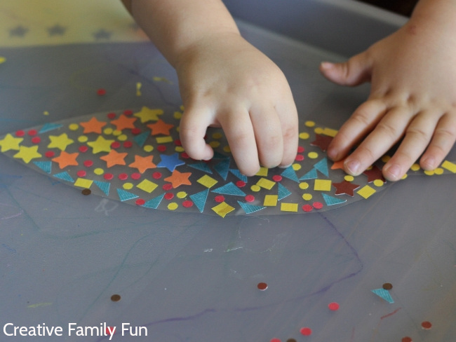 Make pretty autumn leaves and learn shapes with this fun fine motor craft for toddlers and preschoolers, a simple Leaf Shape Collage.