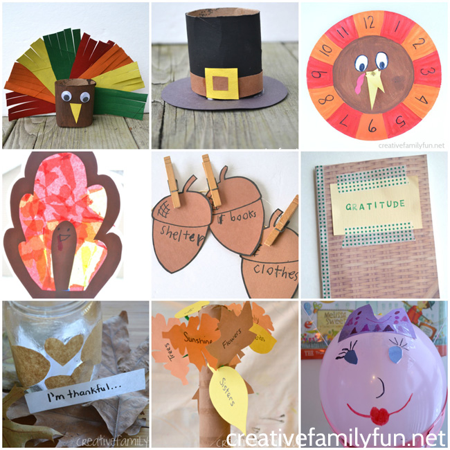 You'll find turkeys, pilgrims, gratitude activities and more with this fun selection of Thanksgiving crafts for kids and families.