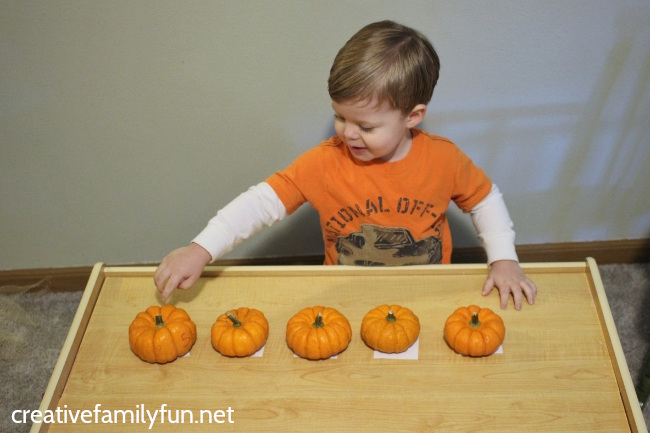 Try some hands-on learning with these fun and simple pumpkin counting activities for toddlers, which help them practice counting and number recognition.