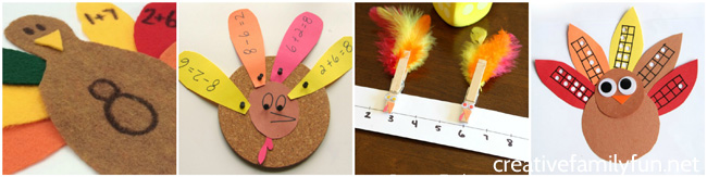Have some fun learning and practicing math with both printable math games and other hands-on Thanksgiving math activities for kids.