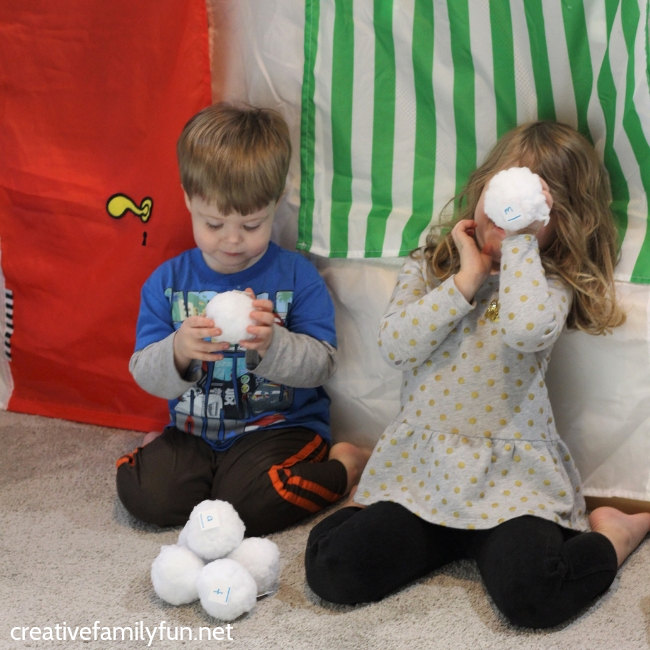 Practice the alphabet with this fun indoor snowball game for toddlers